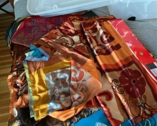 Scarves and fabric samples