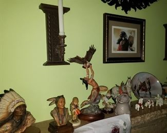 Native American Indian statues, framed art, more.