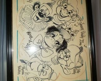 Howdy Doody etching signed by Buffalo Bob.