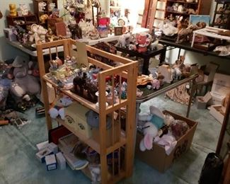 Most shelves, curios, display cabinets for sale; Cabbage Patch, Disney, elephants, elephants, and more.
