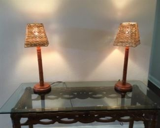 set of bamboo lamps