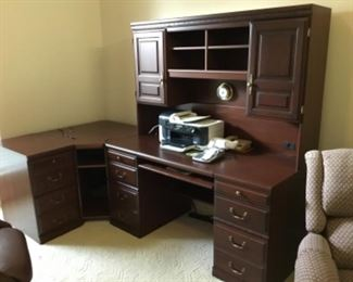 "Executive desk (5'-1""L x 27""D x 68""H) with corner unit (32.5""Sq) and file cabinet"