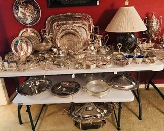 Great assortment of silver hollowware serving pieces