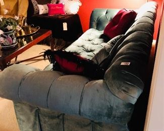 Henredon sofa in teal velvet