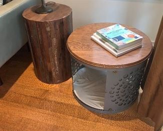 Round dog bed/side table  wooden table and Victorian lamp