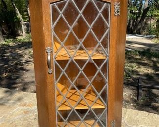 Antique Corner Wood and Glass Wall Curio