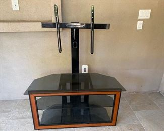 Glass TV Mount Stand w/ 2 lower shelves
