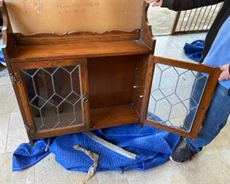 Antique Wood and Glass Wall Curio