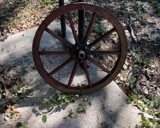 Antique Small Wooden Wagon Wheel