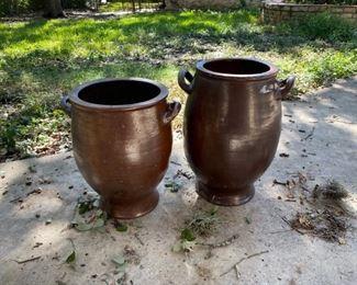 2x Antique Large Salt Glaze Pots