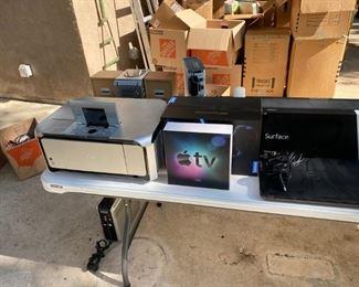 """Electronics - Original AppleTV, Color printer/scanner, Surface tablet, 15"""" laptop"""