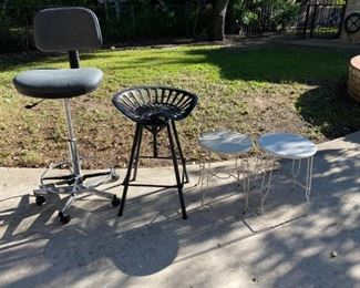 High Stool (adjustable height rolling), Tractor Seat Stool, and 2x vanity chairs