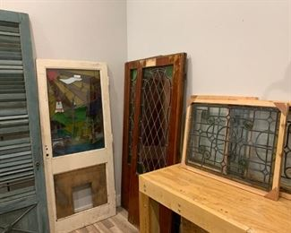 All Antique 1x Wooden Slat Door, 1x Stained Glass Door, Pair of Stain Glass Doors, 3x Stain Glass Windows