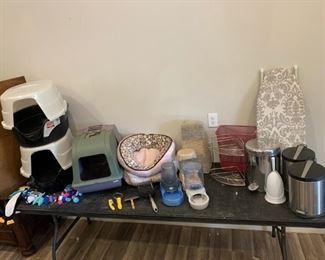 Pet Items and Bathroom Items: 3x kitty litter boxes, kitty toys, 4x feeders, 2x kitty beds, kitty grooming tools, 3x  mini pedal open trash bins, desk iron board, corner shlef, wire trash bin