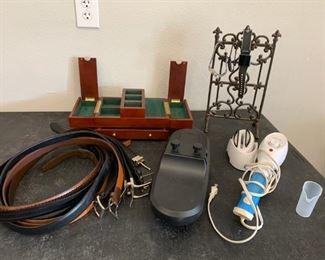 Men's Belts, Tie Rack, Men's dresser curio and Watch Stand