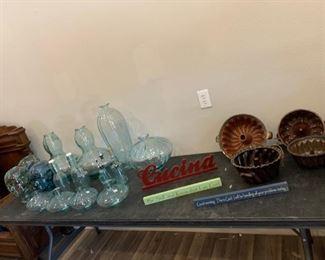 Glass Vases, Bottles, Decorations, and Antique Bundt Pans