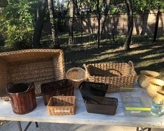 Antique Hamper Basket from Germany, Set of 3 Gila Indian Baskets, Miscellaneous Baskets