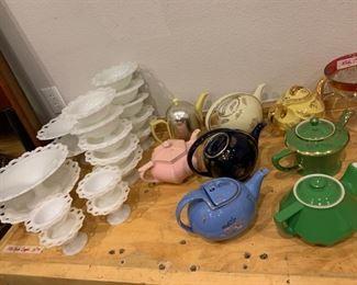 Antique Milk Glass and Hall China Tea Pots