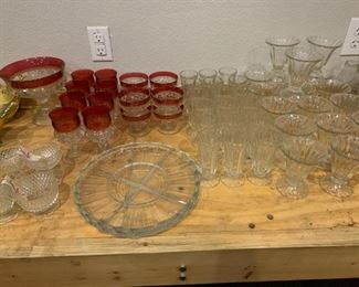 Antique Ruby Flash Glass, Cream and Sugar Bowl (sets), Serving Platters (glass), and Fluted Dessert and Sundae Bowls (heavy-duty resturant quality)