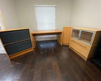 Ikea Office Set Desk: Desk, Narrow Double Shelf Side Cabinet, File Bottom/Shelf Top Cabinet, and Double Roll Top Cabinet