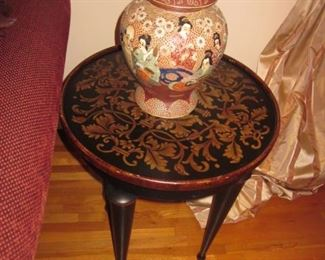 Oriental Urns ~ Gold Inlaid Accent Tables
