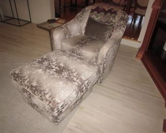 Plush Arm Chair with Matching Ottoman