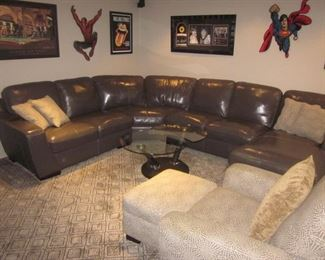 Grey Leather Sectional Sofa Recliner with Chaise Lounge