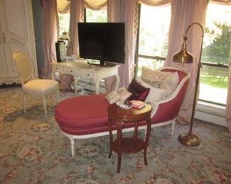 Chaise Lounge ~ TV's ~ Vanity  Ornate Lighting