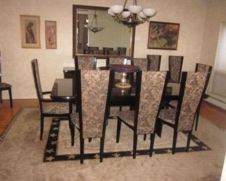 Quintessential Home Furnishings Giorgio Collection Dining Room Italy Brazilian Snake wood Dining Room Table Suite