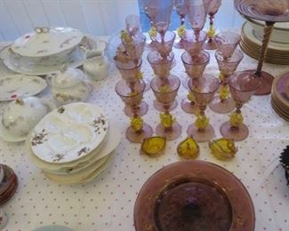 Venetian glass, swan stems & Tazza plates