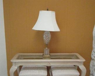 Console and matching stools. Fantastic lamp. Can be sold now but removed later