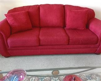 LOVELY RED SOFA AND LOVE SEAT