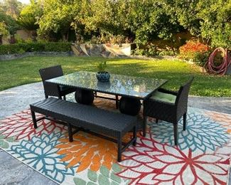 Patio set and rug..