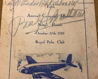 Autographed Eastern Airlines company dinner bulletin from 1939.  Signed by founder Eddie Rickenbacker and VP Paul Brattain.