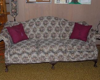 Sofa with ball and claw feet