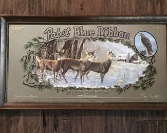 Vintage Pabst Blue Ribbon Beer Advertising Mirror with Whitetail Deer-Limited Edition
