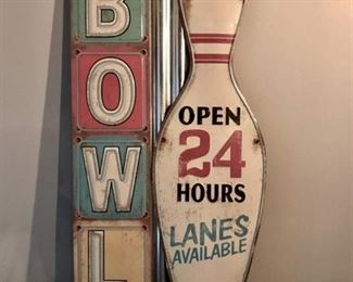 """Unique Large Vintage/Retro Looking Bowling Alley Metal Sign """"Open 24 Hours Lanes Available"""""""