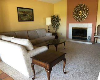Sectional Sofa, Pennsylvania House End Tables and Coffee Table, Brass Table Lamps (pr)