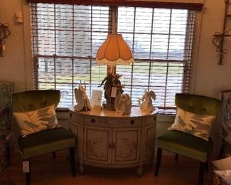 GREEN TUFTED PAIR CHAIRS, BAKER HAND PAINTED BOMBAY CONSOLE