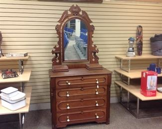 ANTIQUE CHEST WITH MIRROR BEAUTIFUL