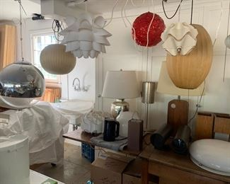 Variety of mid century lamps - George Nelson bubble lamps - very early
