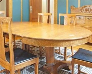 Antique dining table with 6 chairs, circa 1875 & antique buffet