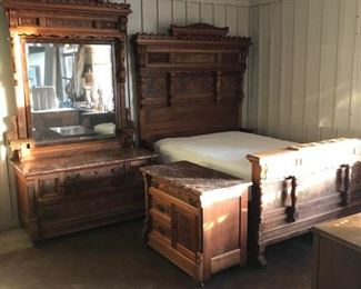 Eastlake Bedroom Set -- Bed with mattresses, Dresser with Mirror and Nightstand.  Excellent condition with no visible wear.