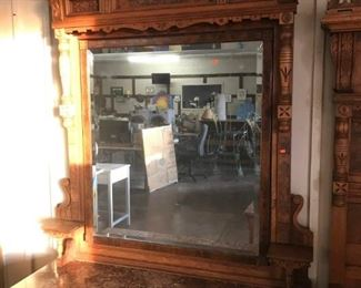 Antique Eastlake Dresser with mirror and marble top in excellent condition.