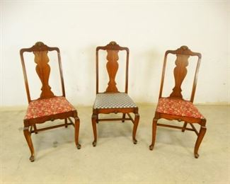 Antique, Dark Wood, CushionSeated Dining Chairs