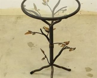Birds Branches Metal  Glass Side Table