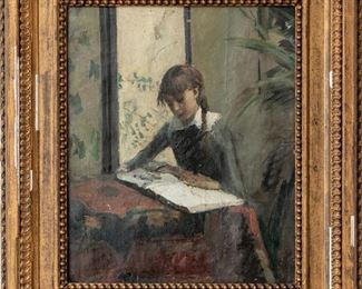 Oil On Canvas Of A Young Girl Reading, Circa 1880-1890