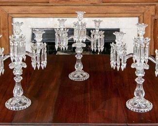 Set Of Three Fine Baccarat Crystal & Moulded Glass Candelabra