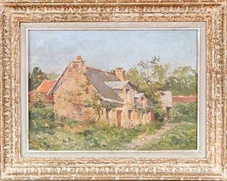 Louis Charles Wuhrer (France, 1844-1925) Landscape Of A Cottage Oil On Canvas