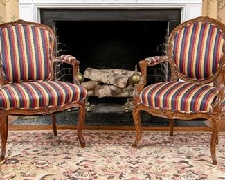 Pair Antique Compatible French Open Arm Chairs In Walnut